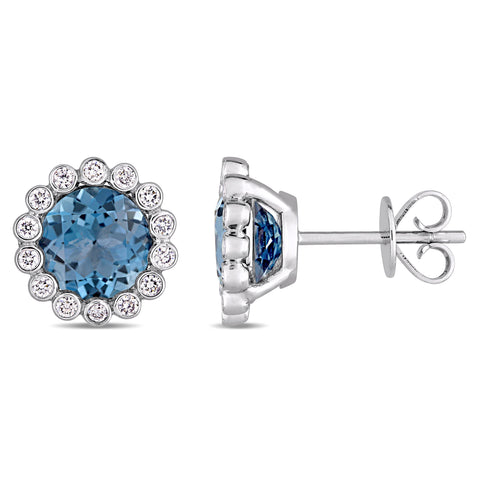 3 1/6 CT TGW London Blue Topaz and 1/4 CT TW Diamond Scalloped Stud Earrings in 14k White Gold