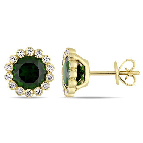 Chrome Diopside and 1/4 CT TW Diamond scalloped Halo Stud Earrings in 14k Yellow Gold