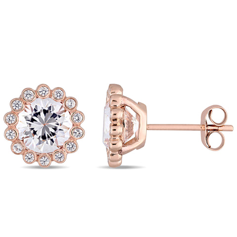 3 1/2 CT TGW Created White Sapphire Scalloped Stud Earring in 10k Rose Gold