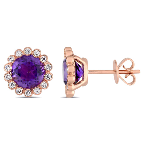 African Amethyst and 1/4 CT TW Diamond Scalloped Stud Earrings in 14k Rose Gold
