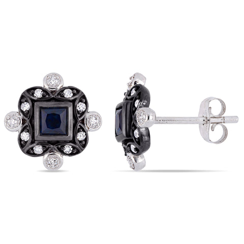 1/2 CT TGW Blue Sapphire and 1/8 CT TW Diamond Bohemian Stud Earrings in 10k White Gold