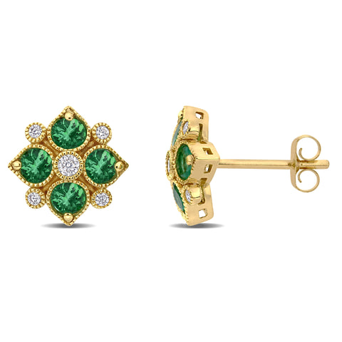 3/4 CT TGW Emerald and 1/8 CT TW Diamond Floral Stud Earrings in 14k Yellow Gold
