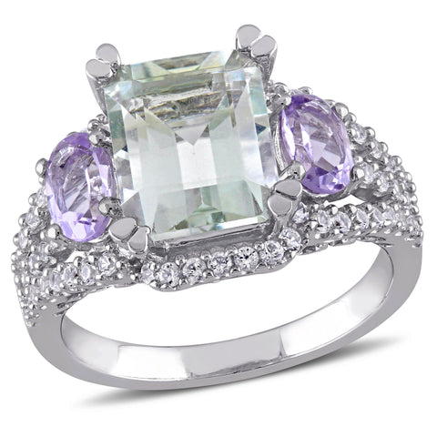 5 CT TGW Emerald Cut Green Amethyst, Rose de France and Created White Sapphire 3-Stone Ring in Sterling Silver