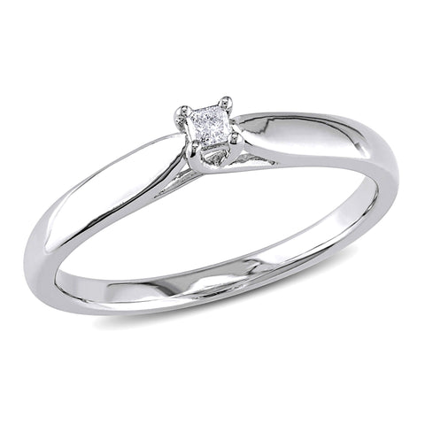 Princess Cut Diamond Solitaire Engagement Ring in Sterling Silver