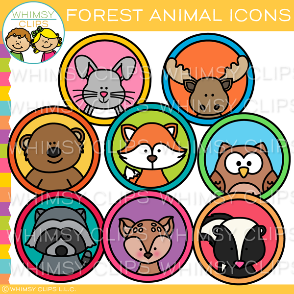Forest Animal Icons Clip Art