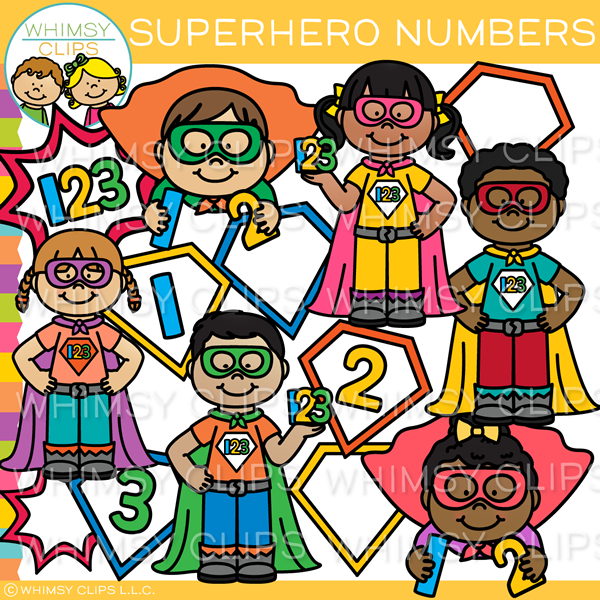 Superhero Numbers Clip Art
