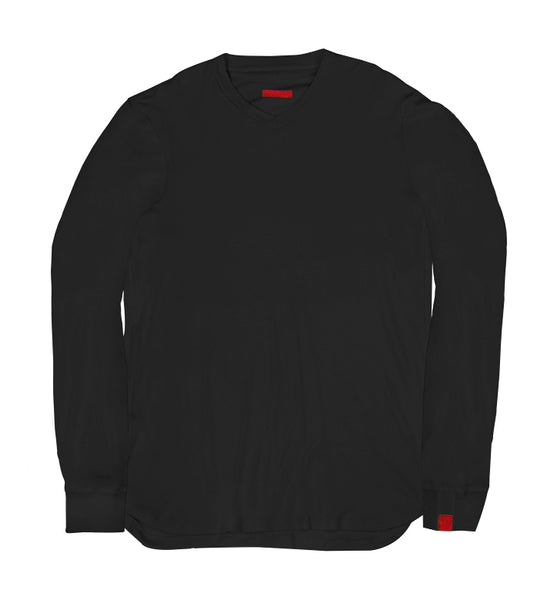 Warren Peace - Remy Long Sleeve V-Neck in Black Cover - Designer Streetwear