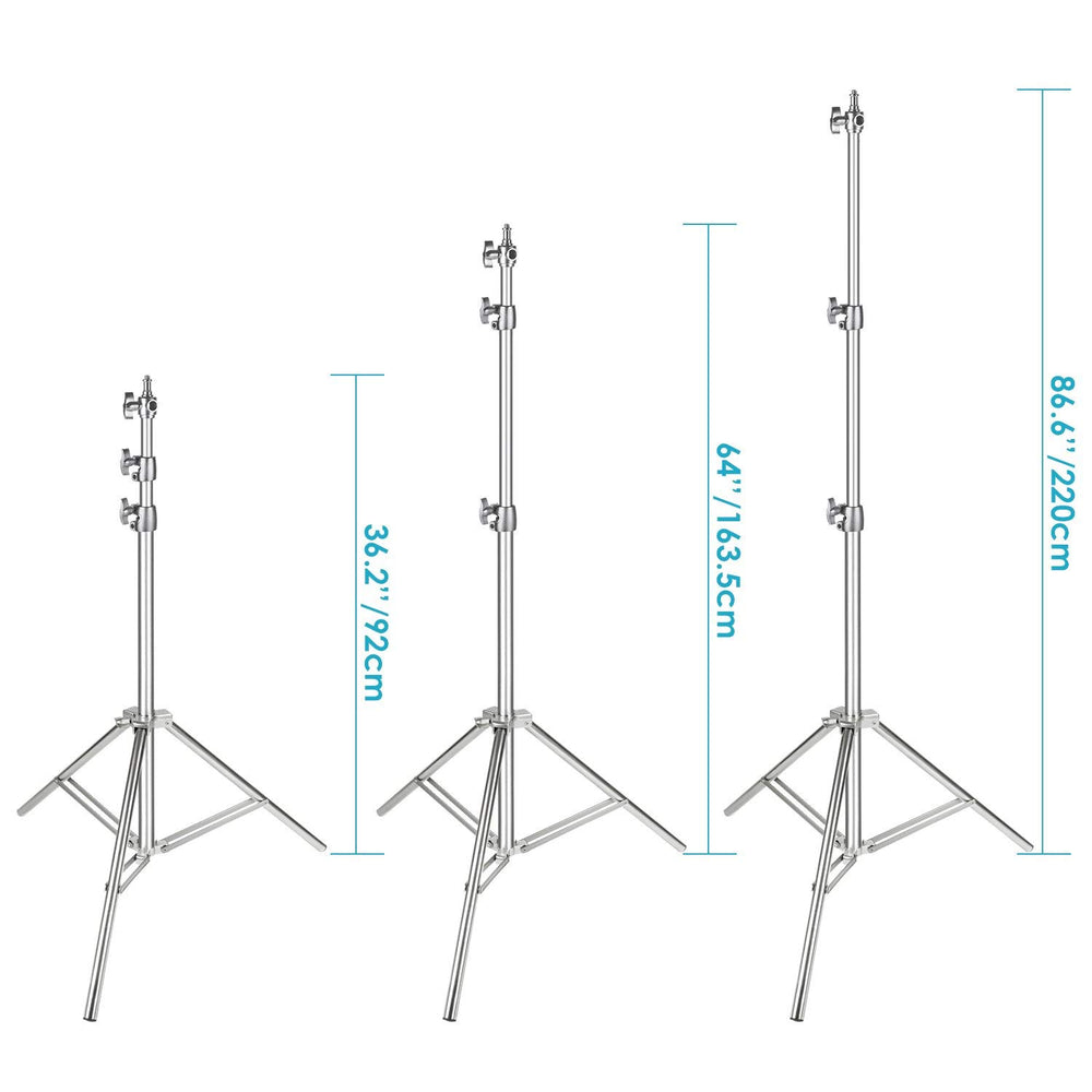"Neewer Stainless Steel Light Stand Silver 86.6""/220 cm Foldable and Portable Heavy Duty Stand - neewer.com"