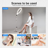 "Neewer 18"" White Dimmable Bi-color LED Ring Light Kit with Silver Stand - neewer.com"