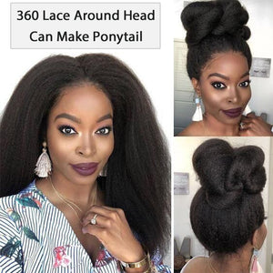 Kinky Straight 360 Lace Frontal Wig Pre Plucked With Baby Hair