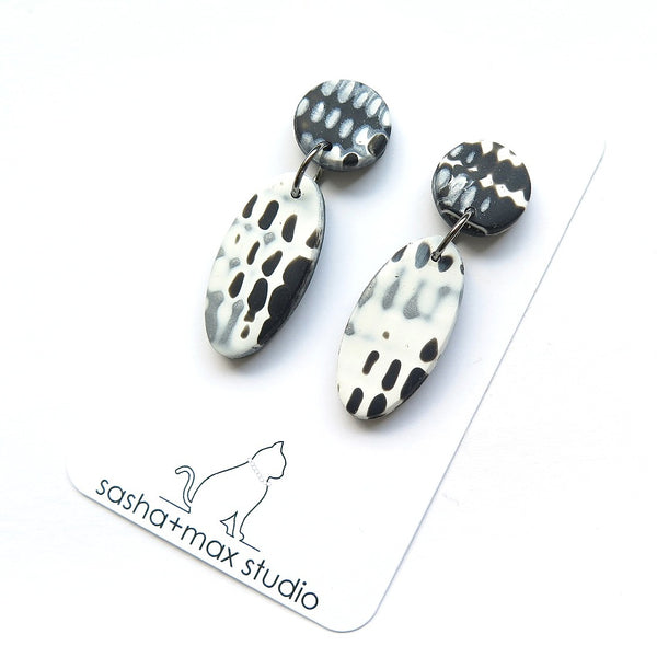 Mokume Dash black, silver and white drop graphic earrings