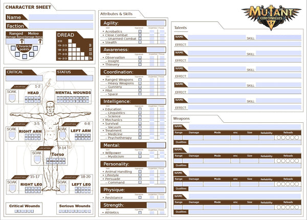 Mutant Chronicles Form Fillable character sheets