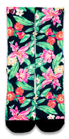 Hawaiian Floral CES Custom Socks - CustomizeEliteSocks.com - 1