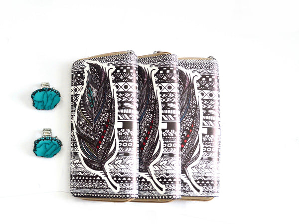 Black and White Vegan Feather Wallet and Glacier Stone Ring
