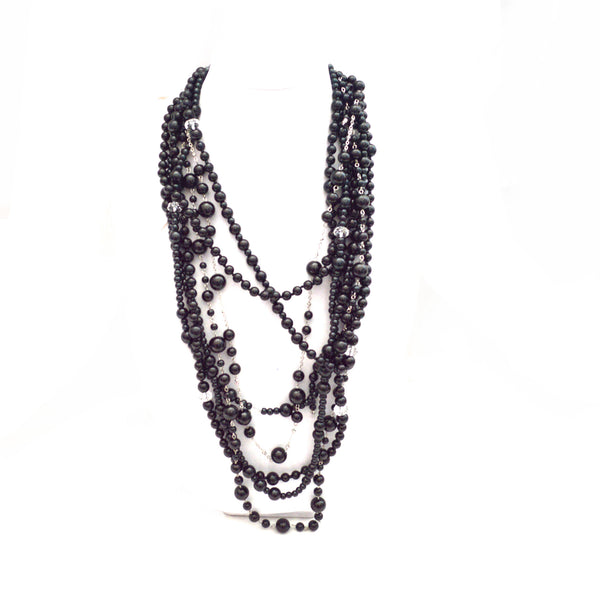Black Glass Bead Bohemian Layered Necklace