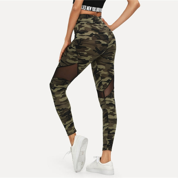 Multicolor Mesh Insert Camo Print Leggings Sporting Patchwork Sheer Crop Pants Women Autumn Athleisure Leggings-Leggings-Come4Buy eShop