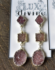 3 STONE DRUZY DANGLE EARRINGS