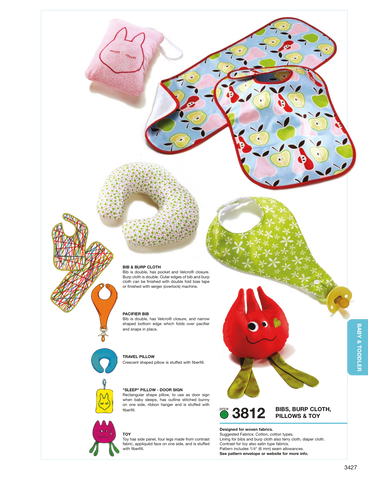 K3812 Bibs, Burp Cloth, Pillows & Toy