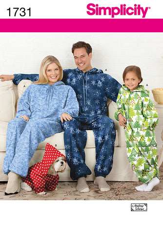 S1731 Fleece Jumpsuit | Adults', Teens', Childs' & Dogs'