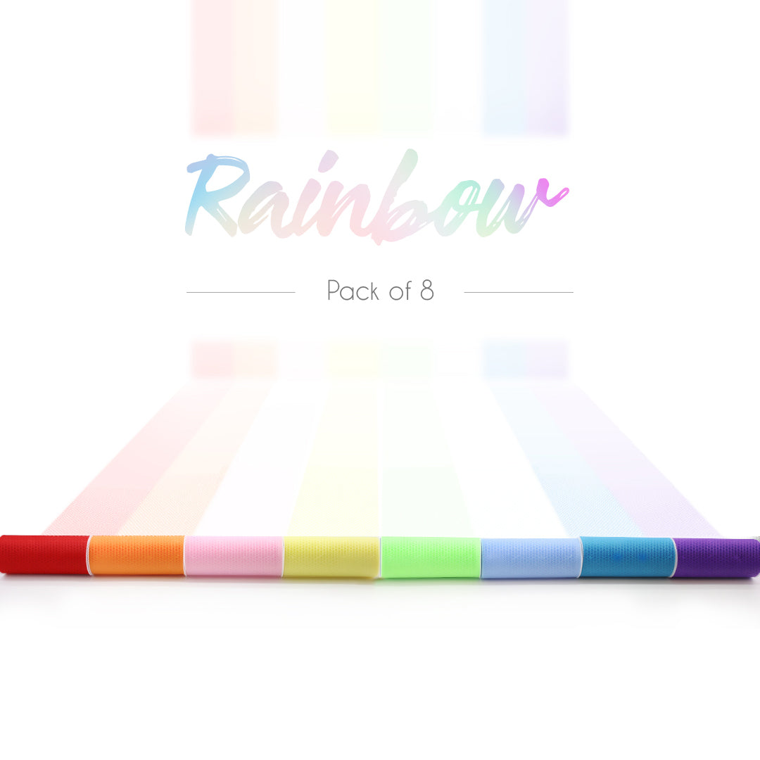 Rainbow Color Tulle Spool Assortment 6 Inch x 25 Yard Pack of 8
