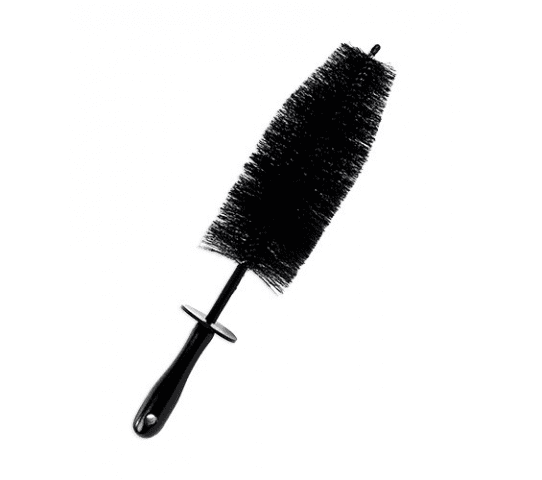 Black Spoke Wheel Brush W/ Wooden Handle 18 Inch