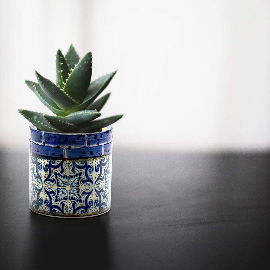 Small Ceramic Succulent Pot - 2.75 Inch Barcelona Pattern Cylindrical Ceramic Pot, No Drainage Hole