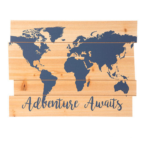 Adventure Awaits Sign: MDF, Blue, 15.75 x 11.81 inches