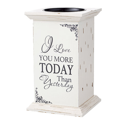 Candle Holder - I Love You More - 4.75 x 8 Inches