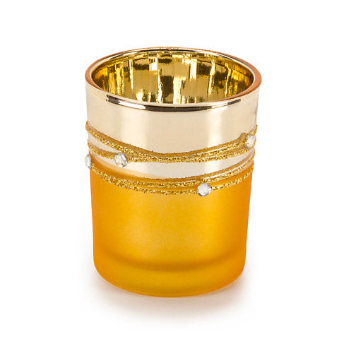 David Tutera Glass Votives - Gold Plated with Rhinestones - 1 Piece