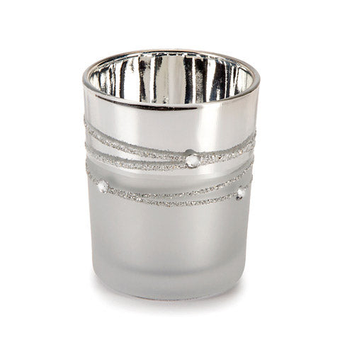 David Tutera Glass Votives - Silver Plated with Rhinestones - 1 Pieces