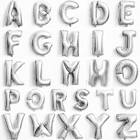 Silver Letter Balloons - Any Custom Phrase 16 Inch Alphabet Letters & Numbers Foil Mylar Balloon
