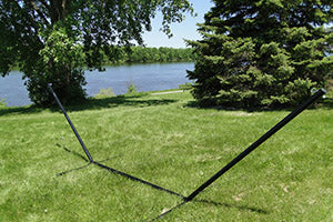 15 ft Tri-beam steel hammock stand black by the river