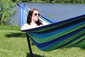 Blue and green brazilian hammock with universal stand