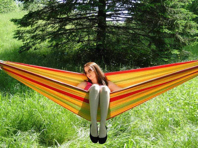Hammock Universe Hammocks with Stands Yellow Green and Red Stripes Brazilian Style Double Hammock with Bamboo Stand