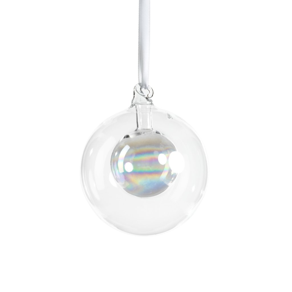 Double Glass Ball Ornament - Clear Luster - CARLYLE AVENUE