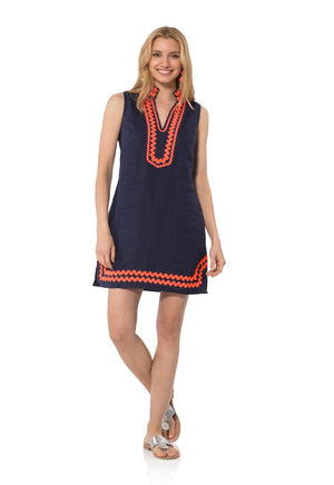 Sleeveless Classic Tunic with Ric Rac Navy