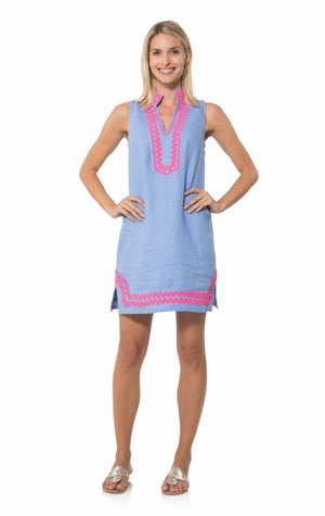 Sleeveless Classic Tunic with Ric Rac Hydrangea