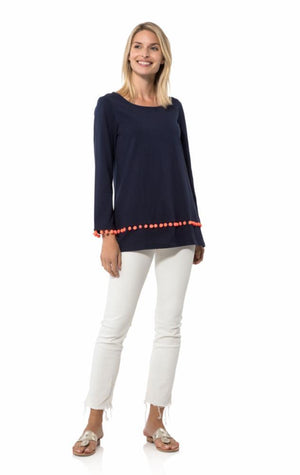 3/4 Sleeve Pom Pom Tunic Top Navy