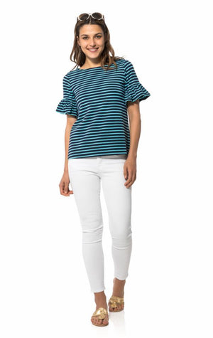 Ponte Ruffle Short Sleeve Top