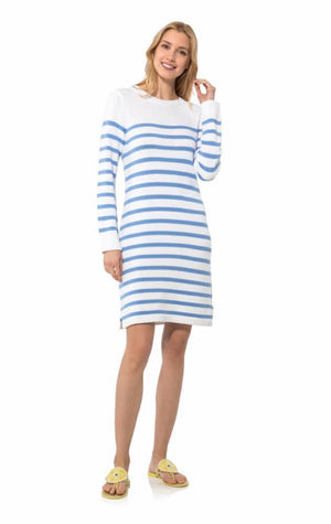 Long Sleeve Stripe Sweater Dress White