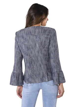 Tweed Bell Sleeve Short Jacket