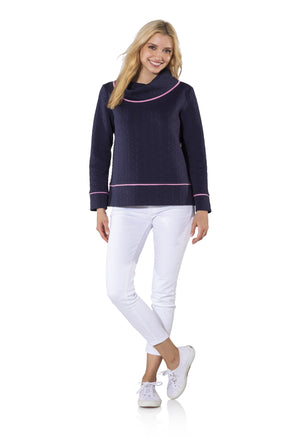 Textured Knit Long Sleeve Pullover