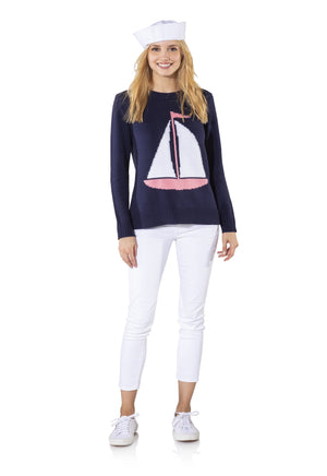 Long Sleeve Intarsia Sailboat Sweater