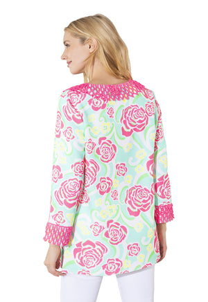 Poly Crepe Long Sleeve Tunic Top Mod Floral