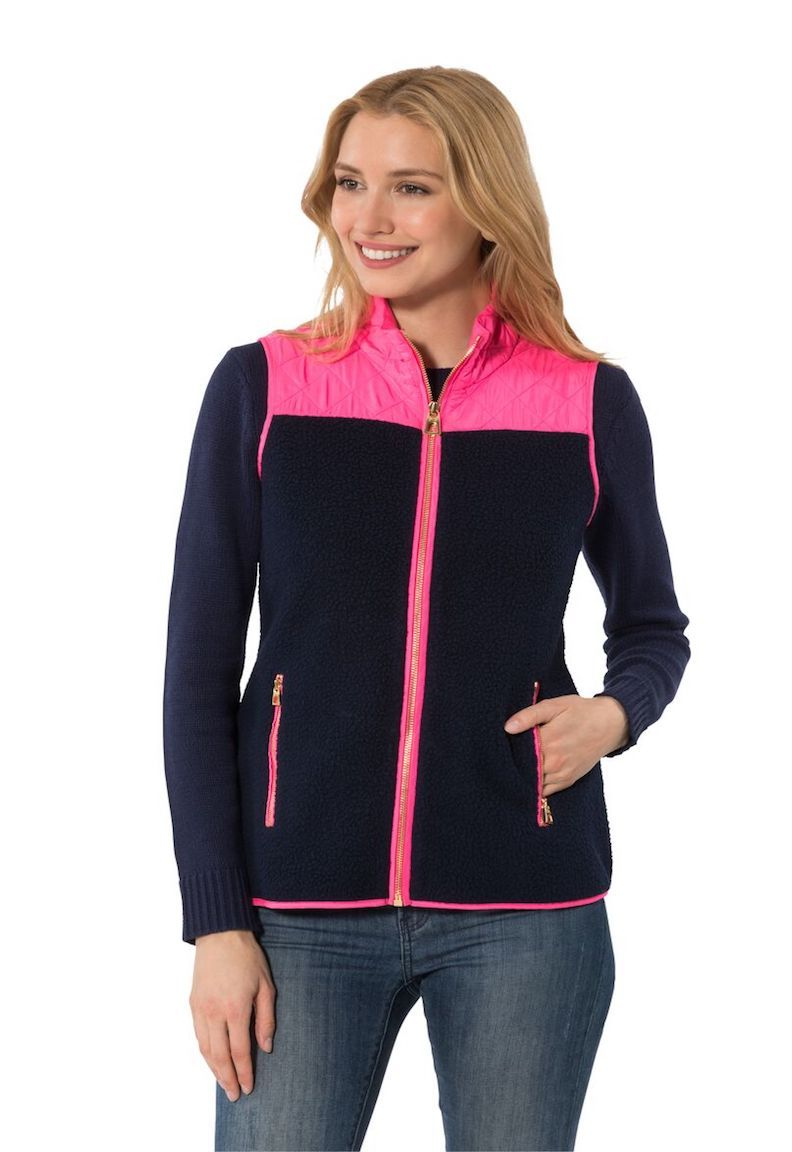 Navy Sherpa Fleece Vest