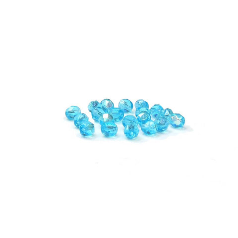 Aqua AB, Round Faceted Fire Polished Beads; 6mm - 20 pcs