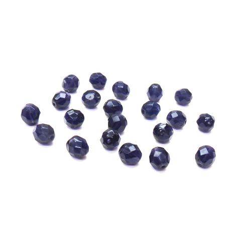 Dark Purple, Round Faceted Fire Polished; 8mm - 20 pcs
