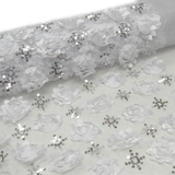 "White, Fancy Wedding Fabrics for tablecloth - 51"" wide; 1 Yard"
