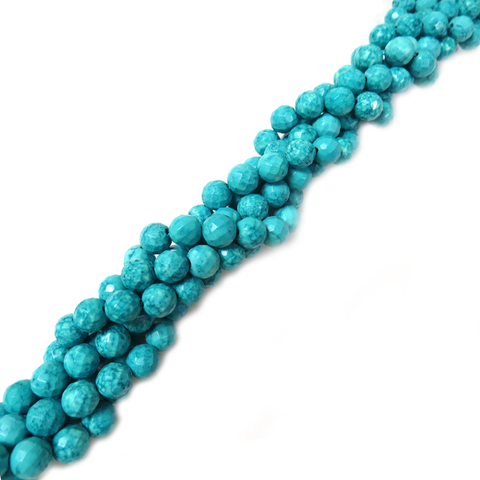 Round Faceted Turquoise Bead, 8mm - 1 strand