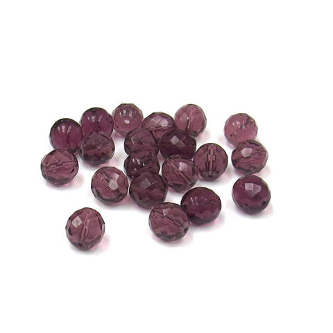 Amethyst, Round Faceted Fire Polish,12mm-20pcs